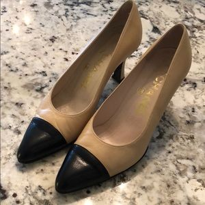 Authentic CHANEL two tone tan and black high heels